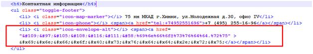 Неправильная кодировка адреса email